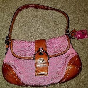 Coach Mini Signature Jacquard & Leather Hobo Pink